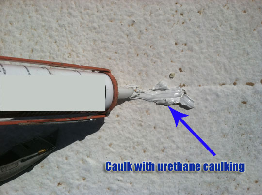 Caulk the hole