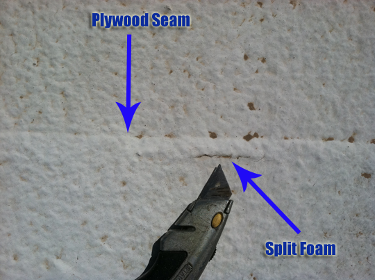 foam split next to plywood seam